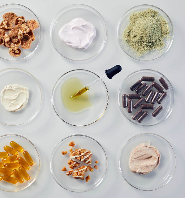 Variety of end use products in petri dishes